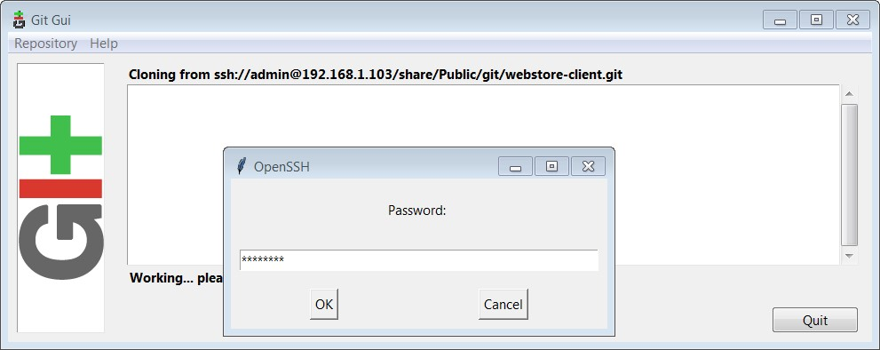 Git GUI Password Authentication